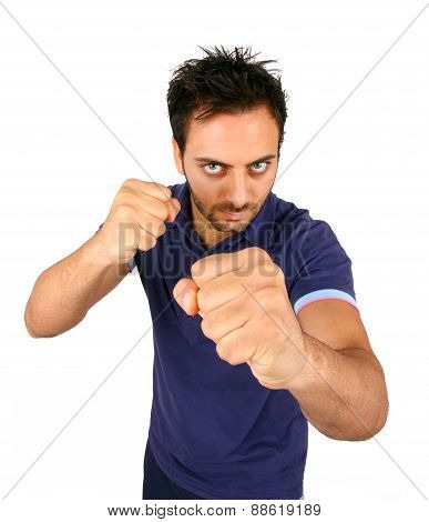 Young Aggressive Man Show His Fists