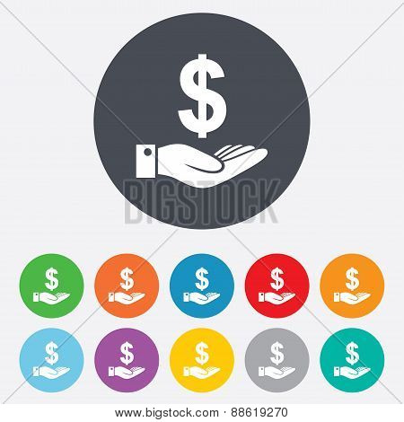 Dollar and hand sign. Palm holds money USD.