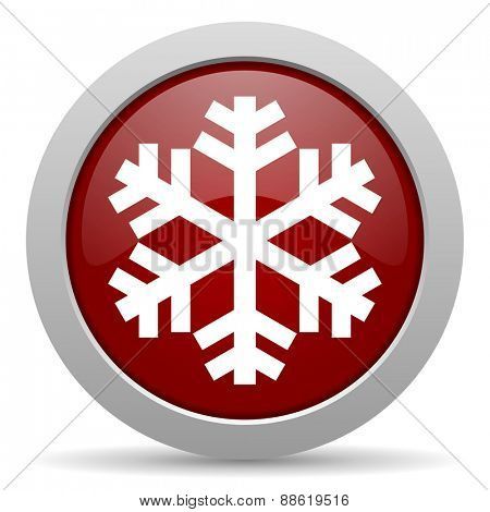 snow red glossy web icon