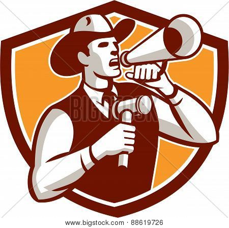 Cowboy Auctioneer Bullhorn Gavel Shield