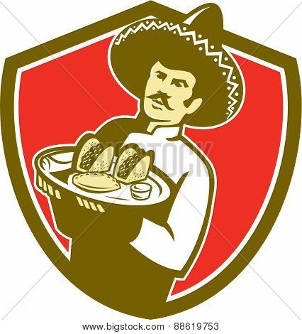 Mexican Chef Cook Serving Taco Plate Shield