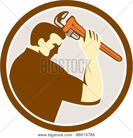 Plumber Holding Monkey Wrench Side Circle Retro