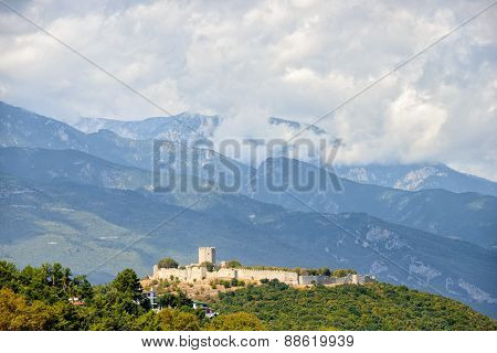 Medieval Fortress Near Small Town Platamonas In Greece
