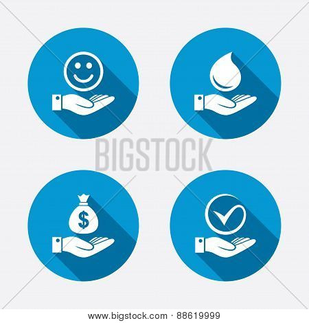 Smile and hand icon. Water drop, Tick symbol.