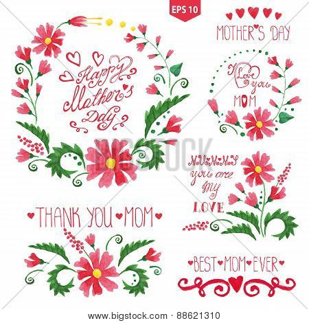 Watercolor floral goup ,headlines set.Mother day decor