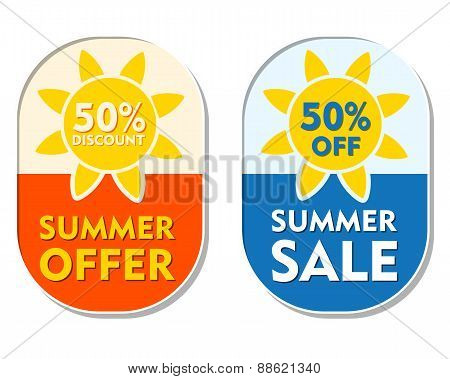 Summer Offer And Sale 50 Percent Off Discount, Two Elliptical Labels With Sun Signs