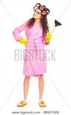 Housewife with plunger isolated on white