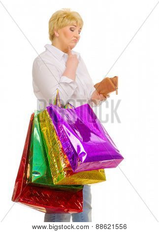 Senior woman with bags and wallet isolated