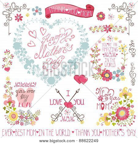 Vintage Floral heart wreath,headline,decor set.Mother day