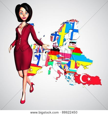 Dynamic 3D Businesswoman Welcomes to Europe
