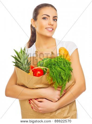 Young girl with full food bag isolated