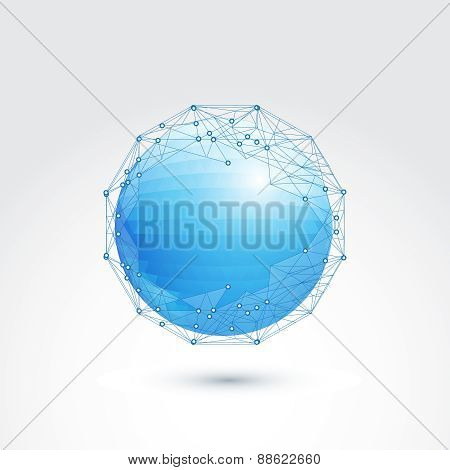 communication vector low polygonal sphere with wireframe