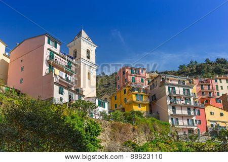 Village architecture of Manarola on the Ligurian Sea coast, Italy