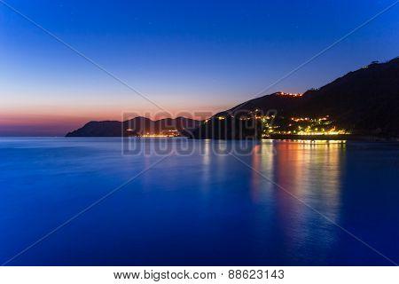 Beautiful coastline of Ligurian Sea at dusk, Italy