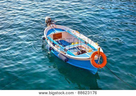 Fishing boats at the coast of Ligurian Sea, Italy