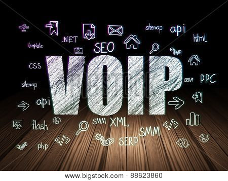 Web design concept: VOIP in grunge dark room