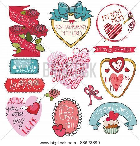 Mothers day decor elements set.Ribbons,labels, hearts,roses,lett