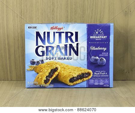 Box Of Nutra Grain Blueberry  Breakfast Bars