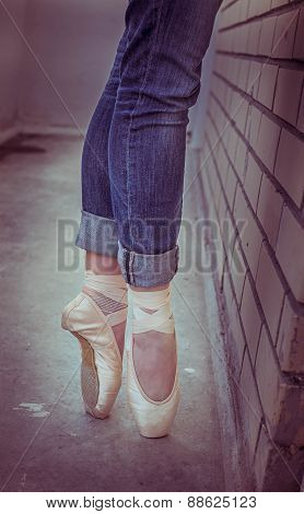 Ballerina. Ballet Pointe Shoes.