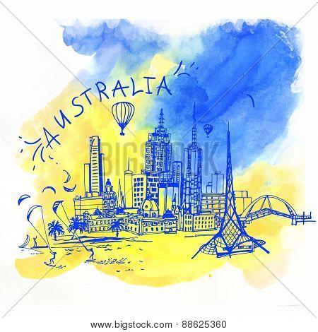 Melbourne skyline Australia.