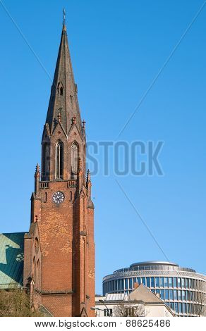 Tower soaring neo-Gothic church