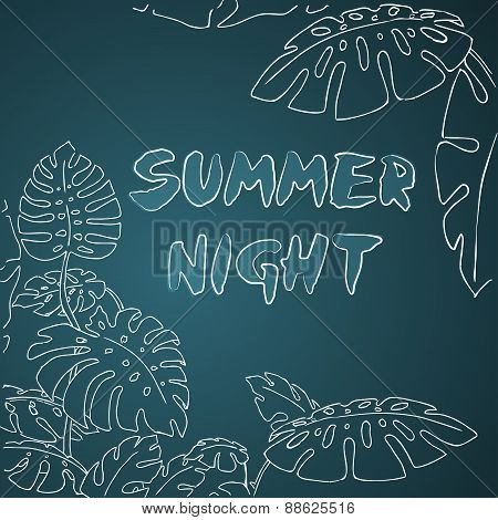 Summer Night  Jungle Palm Leaves