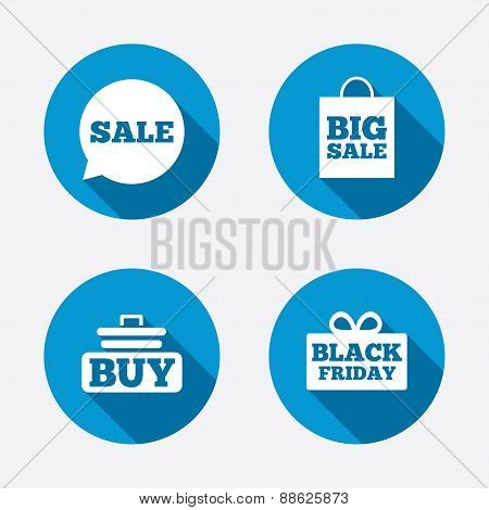 Sale speech bubble icons. Buy cart symbol