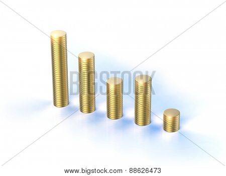 Stacks of golden coins isolated on a white background. Business  concept