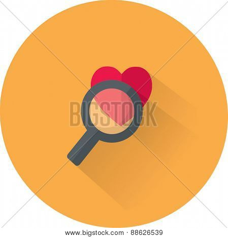 Vector heart and magnifying glass icon. Flat illustration.