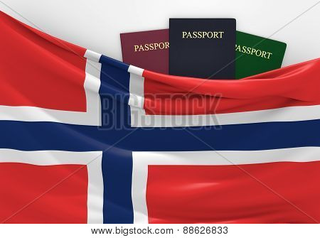 Travel and tourism in Norway, with assorted passports
