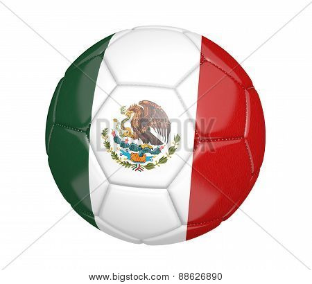 Soccer ball, or football, with the country flag of Mexico