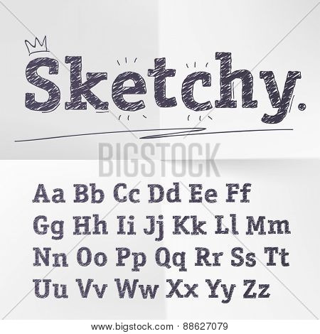 Vector hand drawn sketch alphabet.