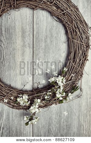 Spring garland decorated with apple blossom