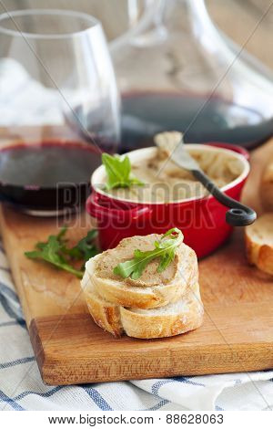 Chicken Liver Pate On Bread And Wine