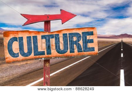 Culture sign with road background