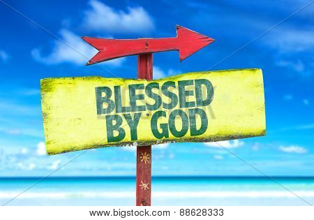 Blessed By God sign with beach background