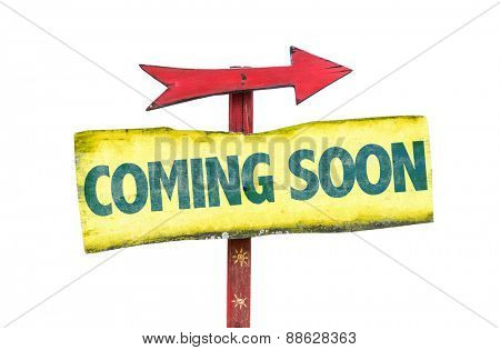 Coming Soon sign isolated on white