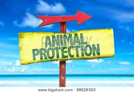 Animal Protection sign with beach background