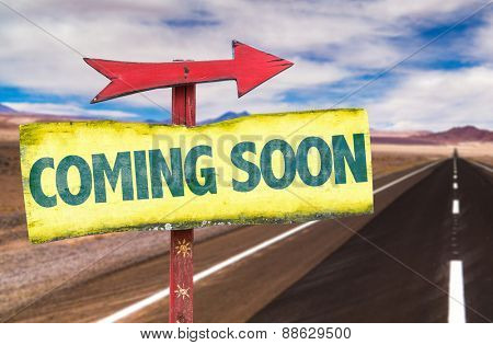 Coming Soon sign with road background
