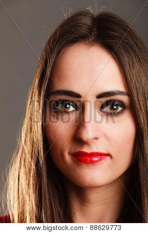 Woman Long Straight Hair Dark Makeup Red Lips On Gray