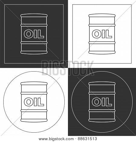 Oil Barrel  Line Icons.