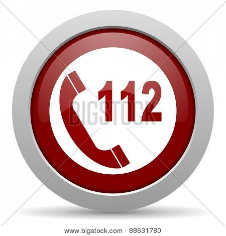 emergency call red glossy web icon
