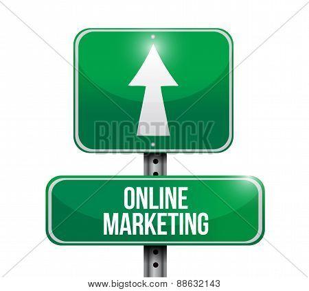 Online Marketing Road Sign Illustration