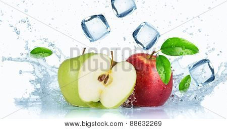 Fresh  apples with water splash isolated on white