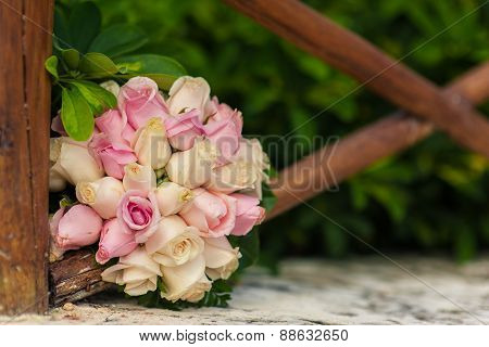 Wedding bouquet of pink and white roses in Tropical Paradise. Dominican Republic, Seychelles, Caribb