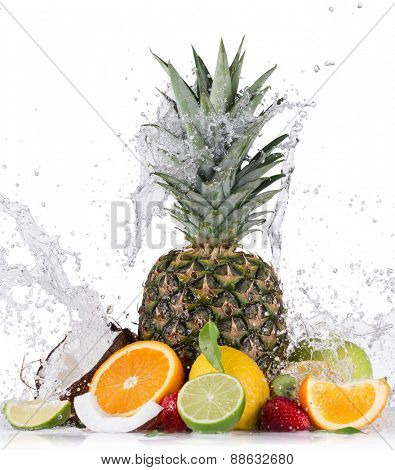 Fresh fruits with water splash isolated on white