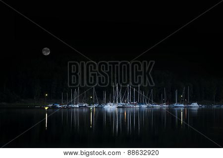 Moored Yachts At Night