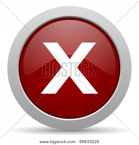cancel red glossy web icon