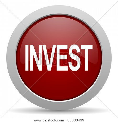 invest red glossy web icon