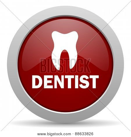 dentist red glossy web icon